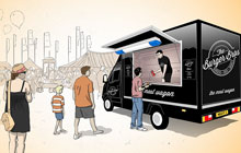 Illustration of a prison van that has been converted into a burger van.