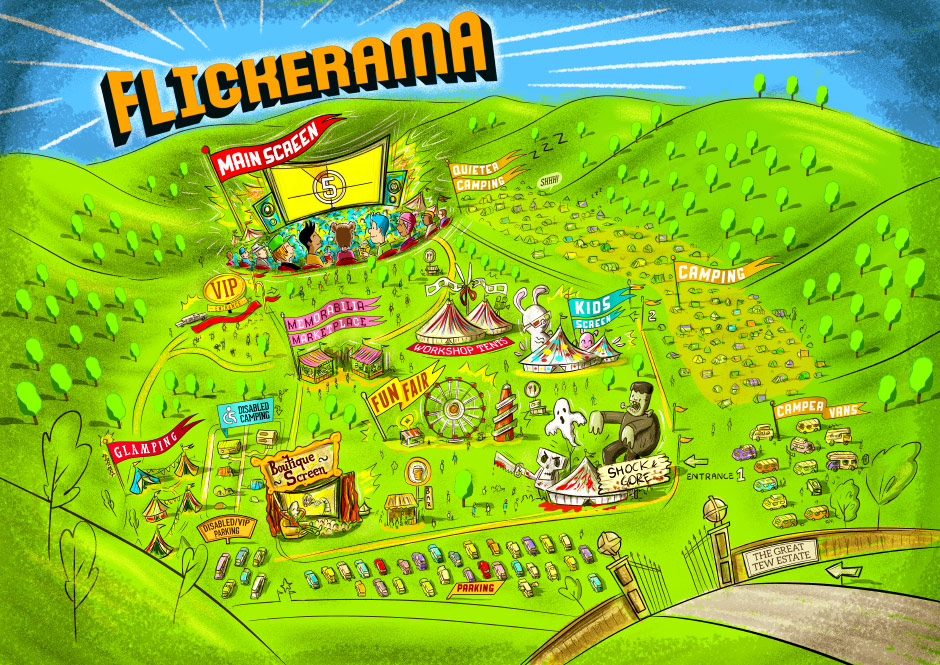 Flickerama Film Festival Illustrated Map